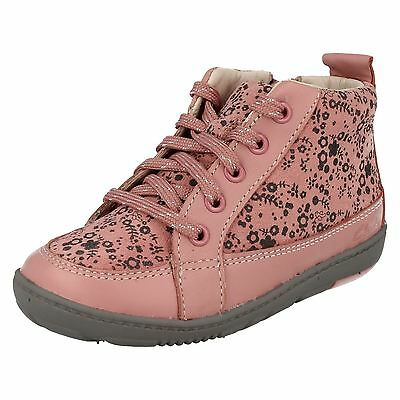 Girls Clarks Maxi Libby Fst Pink Suede Lace Up & Zip Ankle Boots