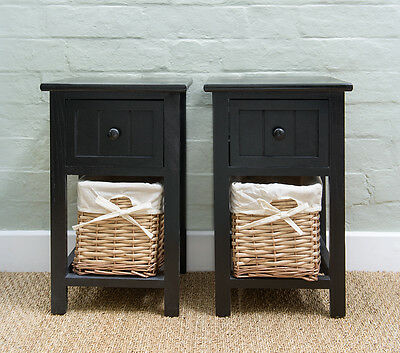 Pair of Brand New Shabby Chic Black Bedside Units with Wicker Storage