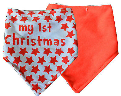 Pack of 2 Baby 1st Christmas Bibs Red & White with stars Xmas Bibs kids toddler