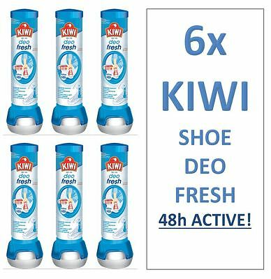 6x KIWI DEO FRESH Shoe Freshener Deodorant Anti Bacteria Odour Smell Kill Spray