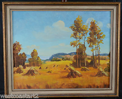 "Eileen Atkins Oil Painting 16x20"" Alberta Hay Field Landscape Canadian Listed"