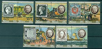 STAMP ON STAMP - NIUE 1980 Sir R. Hill Centenary Hurricane Relief
