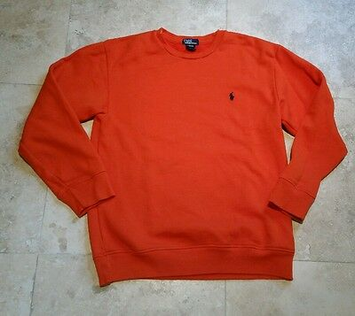 Ralph Lauren Crewneck Sweater Youth Large Orange Pony Logo Polo