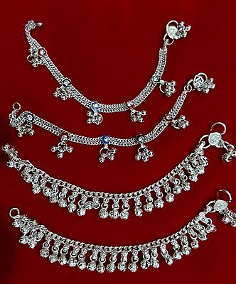 """Baby silver charm bells lot 4 anklet ankle bracelet Indian chain gift jewelry 6"""""""