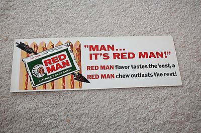 "Vintage Red Man Chewing Tobacco Cardboard Advertising Sign 14"" x 4 3/4"""