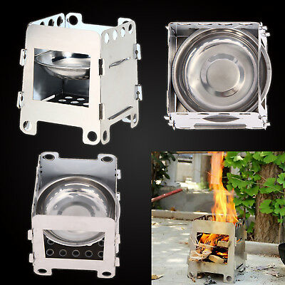 BBQ Camping Cooking Folding Lightweight Stainless Steel Outdoor Wood Stove Burn