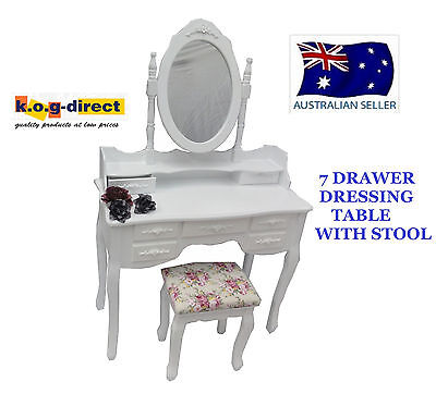 Elegant Girls Dressing Table & Stool 7 Drawers Jewellery & Makeup Cabinet Hw-107