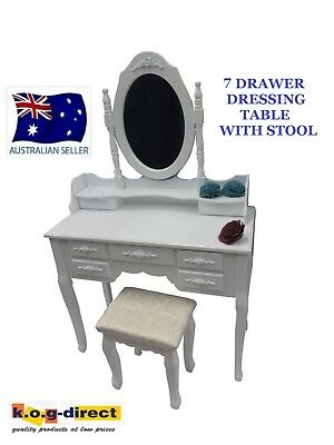 Elegant Girls Dressing Table & Stool 7 Drawers Jewellery & Makeup Cabinet Hw-108