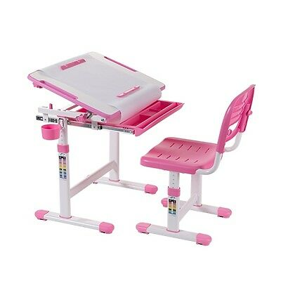 B203 Pink  Kids Study Desk & Chair Set w/Paper Roll Holder B203 Height Adjustabl
