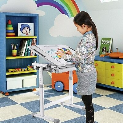 B203 Grey  Kids Study Desk & Chair Set w/Paper Roll Holder  Height Adjustable