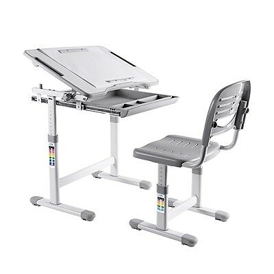 B203 Healthy Ergo Study Desk & Chair Set w/Paper Roll Holder,Adjustable, Grey