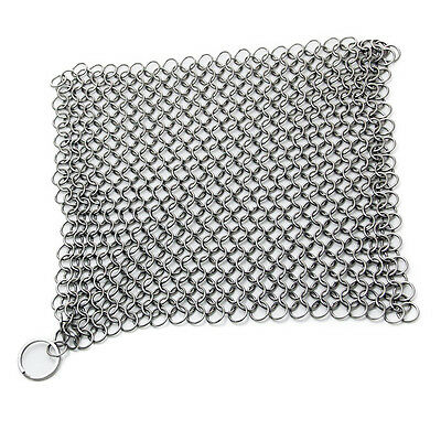 Stainless Steel Chainmail Scrubber for Pre Seasoned Skillet Pan Kitchen Tool