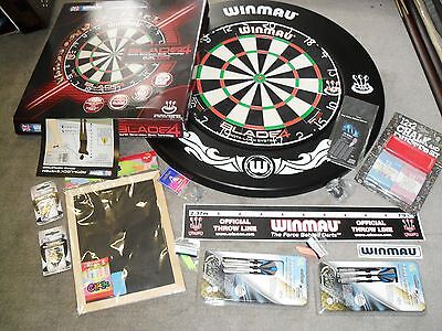 Winmau DUAL CORE Blade 4 Competition Bristle Dart Board & Surround and Extras
