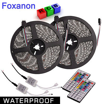 2X Waterproof RGB 5M 5050 SMD 300 LED Flexible Strip & 44 Key Remote Control 12V