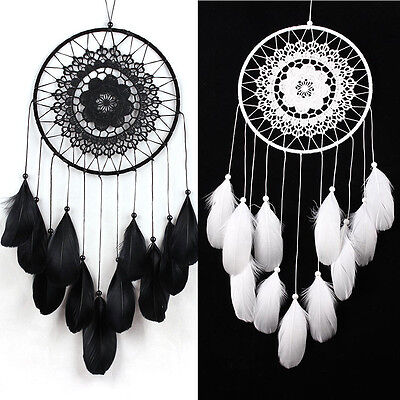 """Dream Catcher brown wall hanging decoration bead ornament feathers long 23.6"""""""