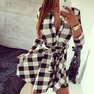 Hot Women Summer Casual Long Sleeve Evening Party Cocktail Short Mini Dress
