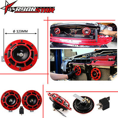 110dB 12V Twin Trumpet Loud Air Horn Electric Kit Motorcycle Car Truck Red