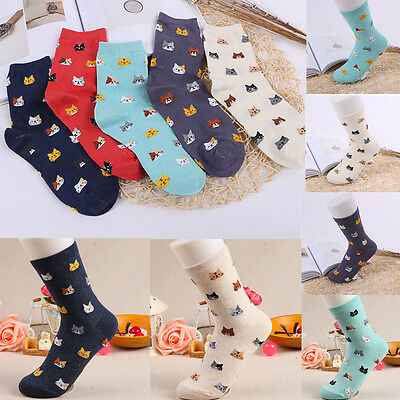 5 Colors  Women SOFT Cute Cat Socks Animal Cartoon Cotton WINTER Socks 1 Pair