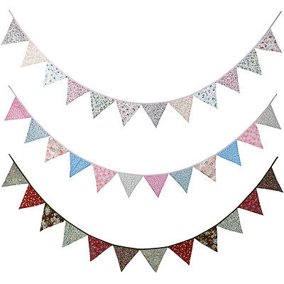 3 Style 3.2M Retro Floral 12 Flags Banner Pennant Wedding/Birthday Party Decor