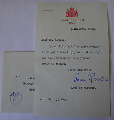 1960 Elizabeth Queen Mother letter Clarence House signed by Lady in Waiting 24