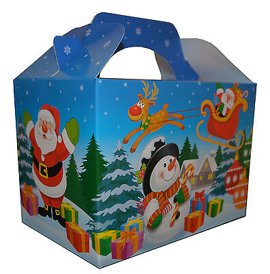2 x Christmas Carry Box Food Kids Party Meal Sweet Candy Boxes Santa & Snowman