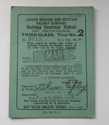 1939 LMS 3rd class Holiday contract Ticket London Midland Scottish Railway Co.