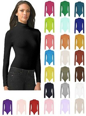 Womens Turtle Neck Bodysuit Leotard Long Sleeve Top UK 8-28