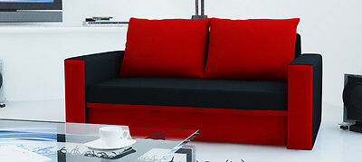 New Modern 2 Seater Sofa Bed HANNAH With Storage Sleeping Area Fabric Black/Red