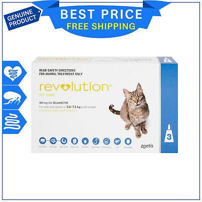 Revolution for Cats 2.6 - 7.5 Kg 3 pipettes Blue Pack flea & heartworm treatment