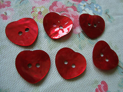 6 Large RED  Heart  Agoya Shell Buttons - 20mm