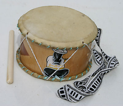 Ethnic Indian Wooden Leather Drum Tribal Traditional South America Music Ecuador