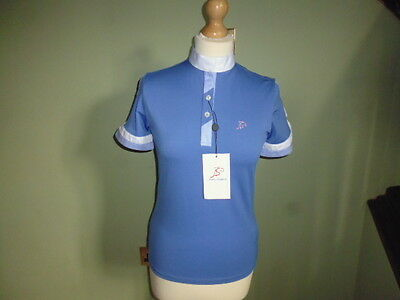 Anna Scarpati Fiaba short sleeve competition show shirt blue size IT 42 or UK 10