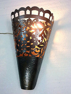 B159 Vintage Style Floral Conical Brass Wall Sconce