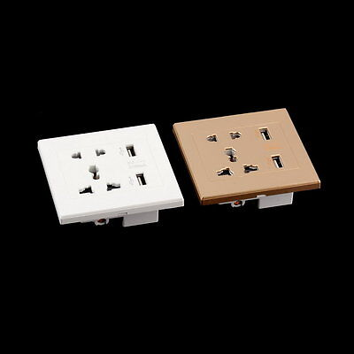 Dual USB Port Electric Wall Charger Dock Socket Power Outlet Panel Plate LE