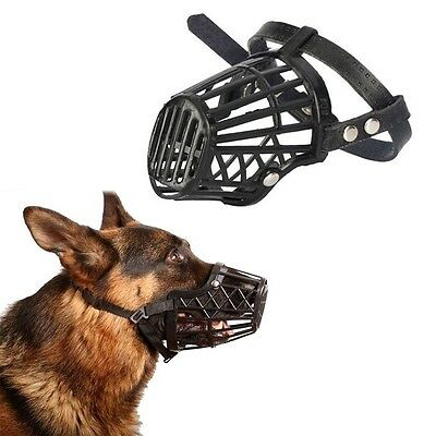 Adjustable Basket Mouth Muzzle Cover For Dog Training Bark Bite Chew Control LE