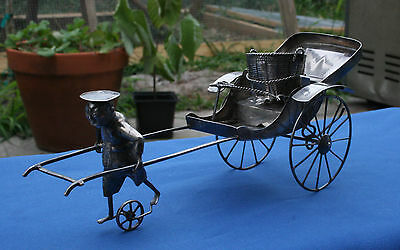 Rare Sterling Silver Tackhing Chinese Export Silver Figural Open Salt Rickshaw
