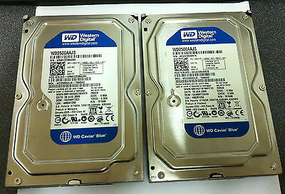 "Lot of 2 DELL K017C Western Digital WD2500AAJS 250GB 7200RPM SATA 3.5""Hard Drive"