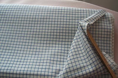 Vtg Antique Blue & White Check Gingham Cotton Quilt  Fabric 1800's 19th Century