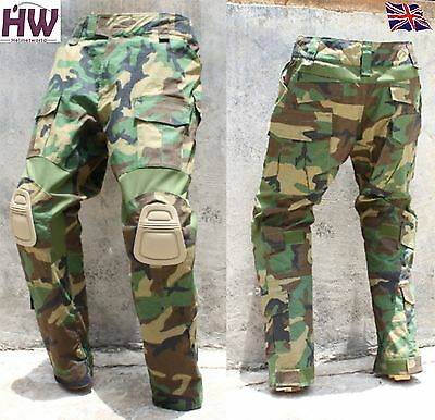 """Airsoft Gen 2 Pants Trousers Woodland Dpm Knee Pads Large 34"""" Crye Style"""