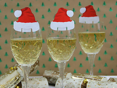 Santa Hat Wine Glass Decorations Pack of 10 Christmas Name Place Cards UK SELLER