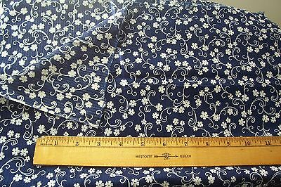 Vtg Antique Victorian Edwardian  Blue & White Dimity Cotton Dress  Fabric