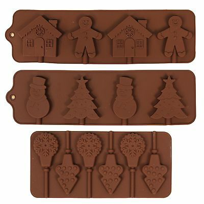 Christmas Silicone Chocolate / Ice Tray Lollipop Lolly Moulds - Choose Design