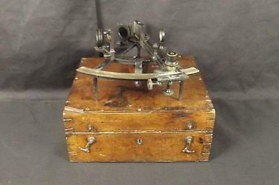 Cased Victorian Era A-Frame Sextant With Accessories