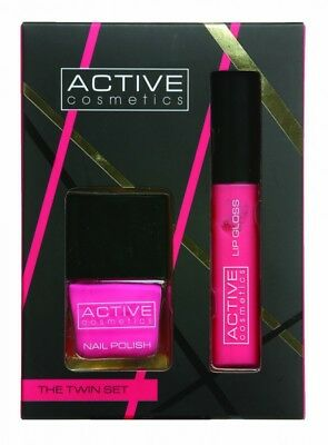 Active Cosmetics The Twin Set Pink Nail Polish + Pink Lip Gloss - Women's. New