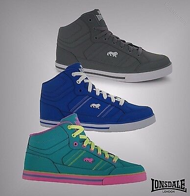 New Juniors Boys Girls Branded Lonsdale Lace Up Canon Mid Cut Trainers Size 3-6