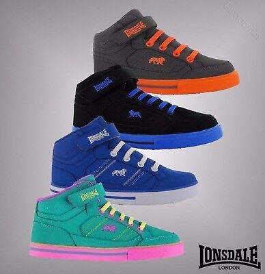 New Kids Boys Girls Branded Lonsdale Loop Tape Canons Hi Top Trainers Size C10-2