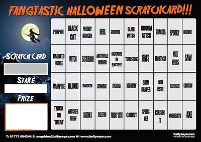 A3 Halloween Themed Scratch & Match Card 40 Names Fundraising Game Scratchcard