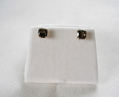 1.15 Ct. Smokey Topaz Solitaire  14k Gold Earrings