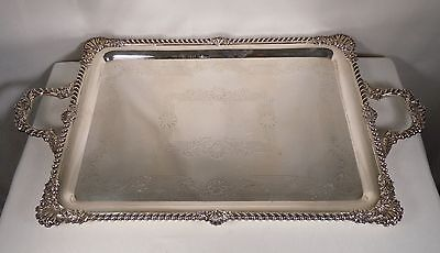 "Antique Hand Chased Ornate Silver Plated Tray 31"" x 18"" - E.G.Webster & Son"