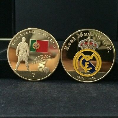 1x 24k .999 Gold Plated Coin Signed Cristiano Ronaldo Number 7 Real Madrid Crest